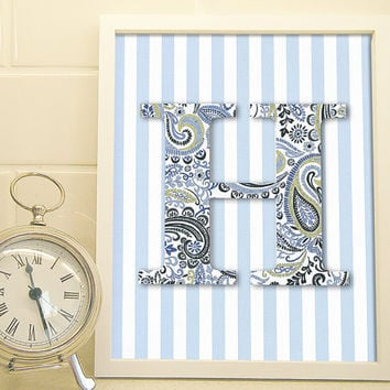 Personalized Monogram - Blue Paisley with Stripes - Art Print - Typography Poster - 8 x 10 Wall Decor