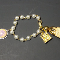 Charm Bracelet faux pearl beads  casle charm  faux opal charm  Large fob