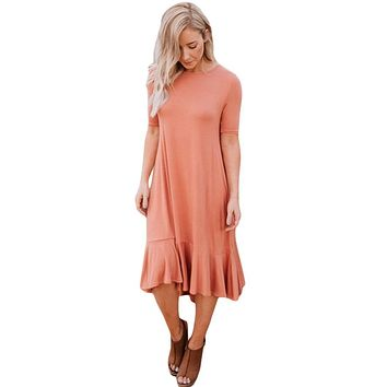 Coral Flowy Ruffles High-Low Hemline Short Sleeve Casual Dress
