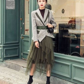 Two piece Blazer with Belt & Long Mesh Skirts