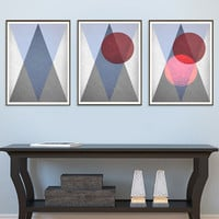 3 for the price of 1 Triangles Print, Geometric Print, Triangle print, Scandinavian Print, old paper texture, Modern Wall Art *183*