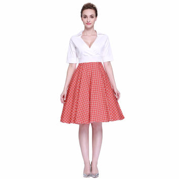 Heroecol Women Cross V Neck Short Sleeve Vintage 50s 60s Swing Style Dresses Rockabilly 1950s 50's Party Orange Red Plaid Dress