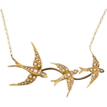 Swallow Necklace with Seed Pearls, 15ct Gold, 10k Chain, Bird Necklace