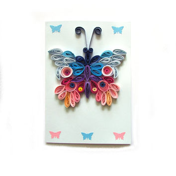Quilling Butterfly Card, Butterfly Greeting Card, Blue Quilled Birthday Card