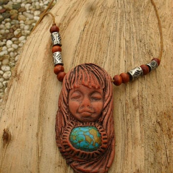 Goddess Necklace, Mother Earth Pendant, Howlite Turquoise Handcrafted Pendant, Hippie Necklace, Boho Pendant
