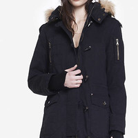 FUR TRIM UTILITY PARKA - BLACK from EXPRESS