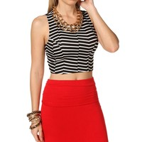Sale-stripe Fitted Crop