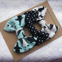 Fabric Hair Bows, Set of 3, Cute Penguins, Hair bows for Teens, Girls, 100% Cotton