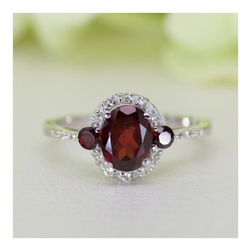 Natural Garnet And White Topaz Sterling Silver Ring