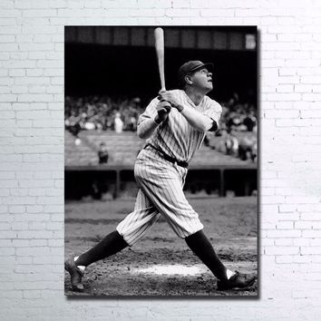 Babe Ruth Baseball Batter Sultan of Swat Home Run Yankees Single Panel 1 Piece