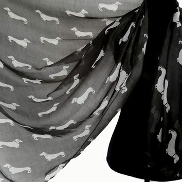 Dachshund Dog Print Animal Scarf Large Soft Shawl Wrap Women's Fashion Accessories = 1957865412