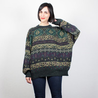 Vintage 90s Sweater 1990s Jumper Boyfriend Sweater Pullover Cozy Knit Cosby Sweater Green Purple Gray Oversized Sweater XL Extra Large XXL