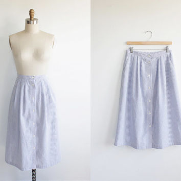 Vintage 80s Blue + White Striped Cotton Country Skirt | large