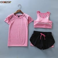 Fitness gym women 3 peice set t shirt+bra+shorts quick dry sports running yoga sets clothing womens tracksuit ropa deportiva