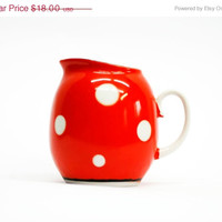 SALE 20% OFF/ soviet union vintage polka dot pitcher soviet union polka dot creamer
