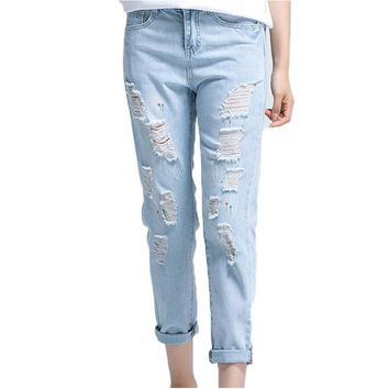 Summer Ripped Women Jeans Mid Waist Straight Ankle Length Pants For Young Women Girls European Style Fashion Women Jeans