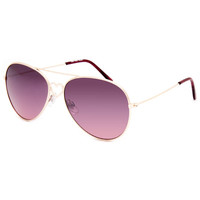 Full Tilt Heart Center Aviator Sunglasses Gold One Size For Women 25646162101