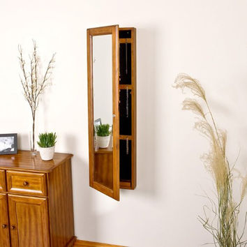 Wall Mount Jewelry Mirror - Oak