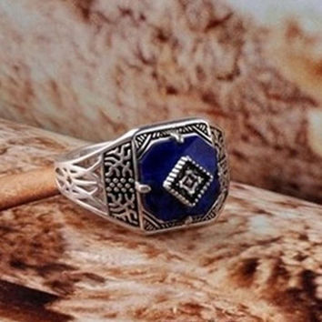 The vampire Diaries Caroline Forbes Rings, Vampire Diaries Caroline's Sunshine Protection rings, Retro Vintage Blue Ring