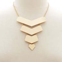 Tiered Chevron Bib Necklace