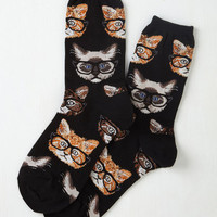 Quirky One Wise Kitty Socks by ModCloth