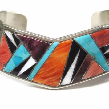 Vintage Native American Spiny Oyster Inlay Cuff Bracelet 6.5 Inches