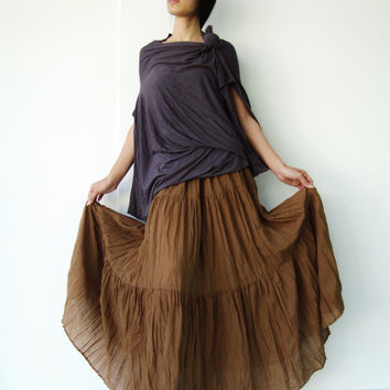 NO.5  Brown Gold Cotton, Hippie Gypsy Boho Tiered Long Peasant Skirt