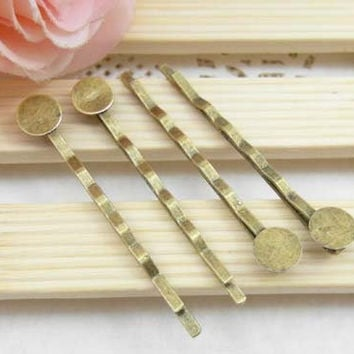 50pcs Antique Brass Bobby Pin with Glue by FullLoveAccessories