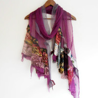 Plum color scarf, plum silk scarf, patchwork scarf, Mother's Day gift, women fashion, feminine scarf, purple scarf, spring fashion