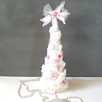 Eloise's PINK Christmas. Vintage Chic Tabletop Tree. Shabby Cottage Decor. Rustic Romance for the Holidays. French Farmhouse. Handmade Gift.