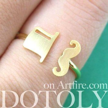 Classic Mustache and Top Hat Adjustable Ring in Gold | DOTOLY