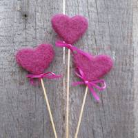 Purple Felted Hearts Felt Topper set of 3 violet Heart Valentine Decoration Rustic Nature Wedding Home Decor Fairy folk love gift idea