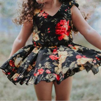 1-6Y Toddler Kids Baby Girls Boho Floral Princess Dress Pageant Party Tutu Dress