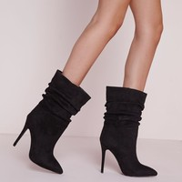 Missguided - Ruched Pointed Toe Ankle Boots Black