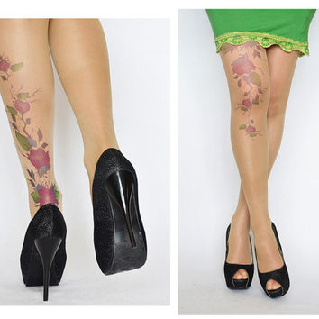 Delicate Tattoo Tights With Purple Flowers / Printed  Handmade Tights / Tattoo Women's Pantyhose / tattoo socks