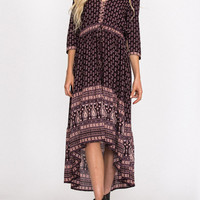 Multicolor V Neck Tribal Print Tied 3/4 Sleeve Dipped Hem Dress