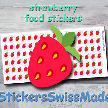 PLANNER STICKER || strawberry || food || fruit || small colored icon | for your planner or bullet journal
