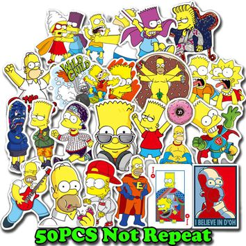 50pcs/Lot Anime Cartoon Simpson Mixed Stickers PVC Stickers For Travel Suitcas For Laptop Sticker Decal Fridge Skateboard