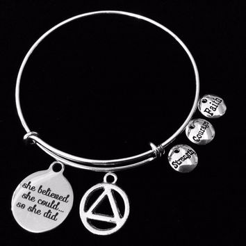 She Believed She Could AA Recovery Expandable Charm Bracelet Adjustable Bangle Alcoholics Anonymous Inspirational Meaningful