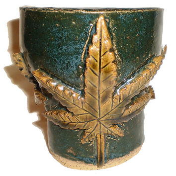 Cannabis Cup (5) - Hand-built slab cup with three large Cannabis marijuana weed leaves