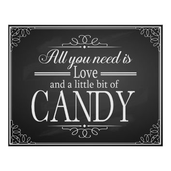 Candy Bar wedding sign chalkboard - blackboard Poster