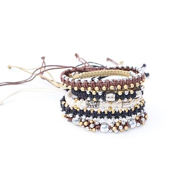 Macrame Beaded Bracelet - Silver & Gold