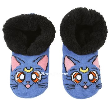 Licensed cool Sailor Moon Luna Cat Adult Cozy Fluffy Faux Fur Slippers Socks Anti Slip Soles