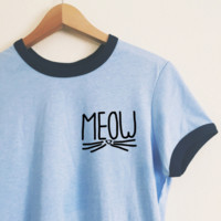 Mady Meow Blue Ringer Tee