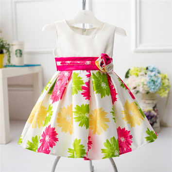 Casual Cotton Baby Girl Christmas Dress Flower Print Pattern Cute Newborn Xmas Party Dresses Clothes Infant Baby 1 Year Birthday