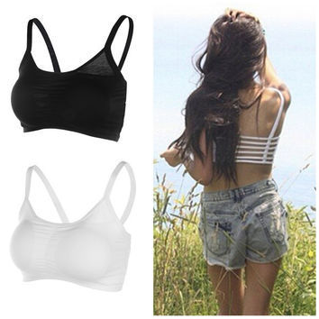Hot Sexy Backless Hollow Out Base Vest Cotton Spandex Women's Bustier Bra Crop Top Tank Beach Newest