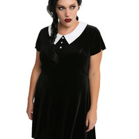 Black & White Collar Velvet Dress Plus Size