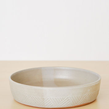 Hand Carved Serving Bowl - White Washed Small
