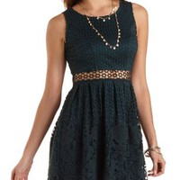Mixed Lace Cut-Out Skater Dress by Charlotte Russe - Teal