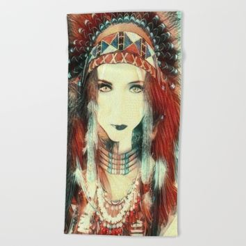 Cherokee Indian Spirit Beach Towel by Art Appreciation